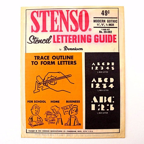 "Vintage STENSO Stencil Lettering Guide, Modern Gothic 1/4"", 3/8"", 1/2"" Letters Numbers (c.1966) - ThirdShiftVintage.com"