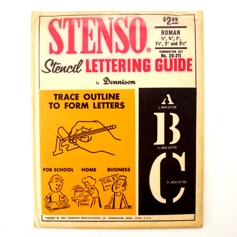 "Vintage STENSO Stencil Lettering Guide, Roman 1/2"" to 2-1/2"" Letters Numbers (c.1966) - thirdshift"