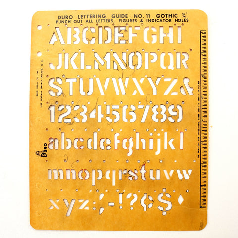 "Vintage DURO Stencil Lettering Guide, Gothic 3/4"" Letters Numbers (c.1965) - ThirdShiftVintage.com"