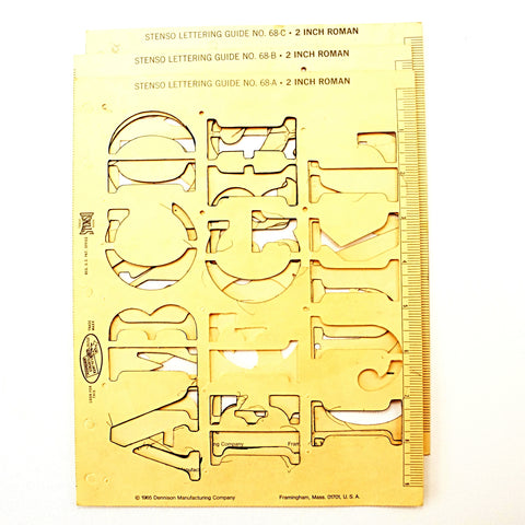 "Vintage STENSO Stencil Lettering Guide, Roman 2"" Letters Numbers (c.1965) - ThirdShiftVintage.com"
