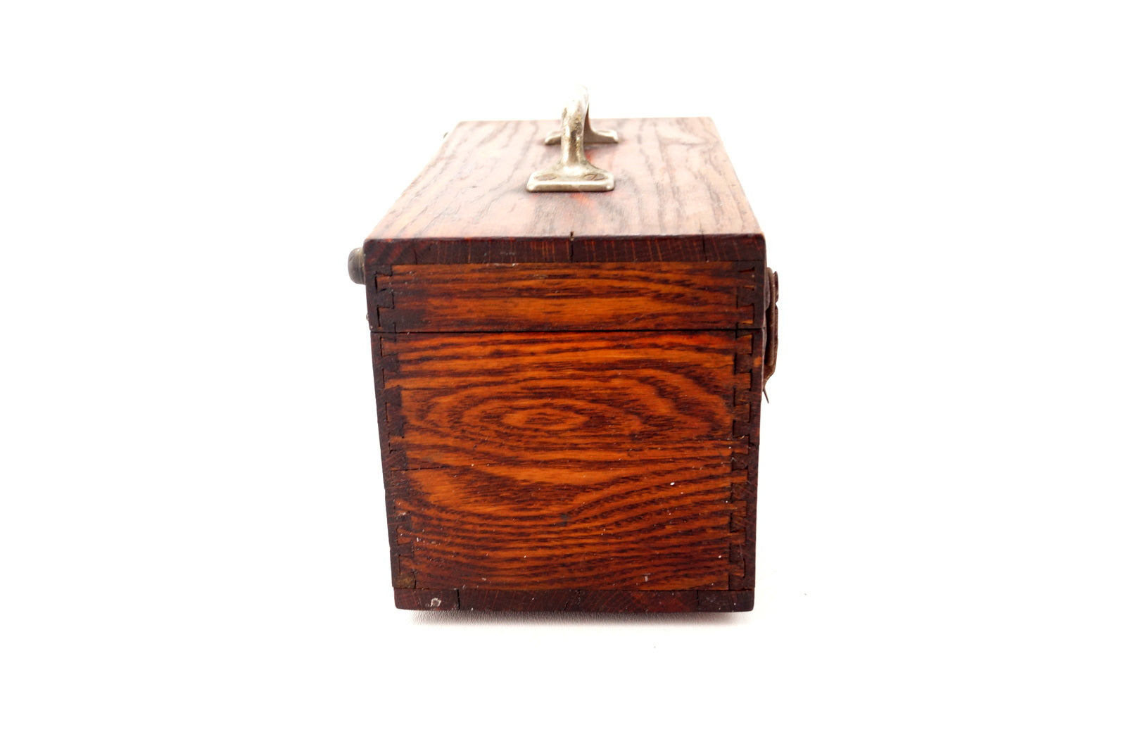 Vintage wood box with lid handle and metal label plate navy