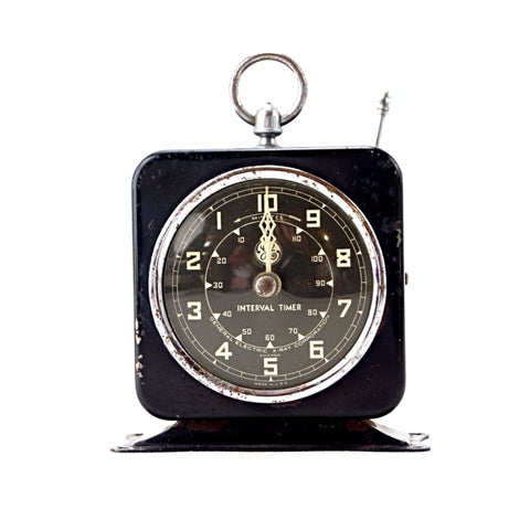 Vintage Industrial X-Ray Timer in Black Metal (c.1940s) - ThirdShiftVintage.com