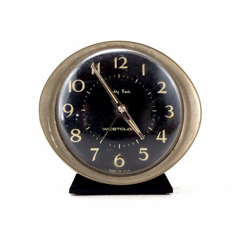 Vintage Baby Ben Alarm Clock by Westclox in Black and Silver (c.1940s) - ThirdShift Vintage