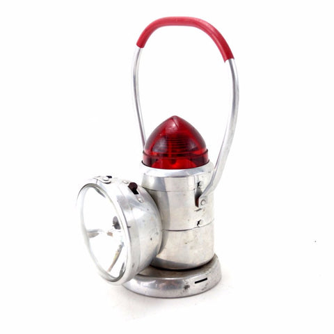 Vintage VolKano Flashlight / Lantern with Warning Blinker in Silver, Dual-Bulb (c.1950s) - ThirdShiftVintage.com