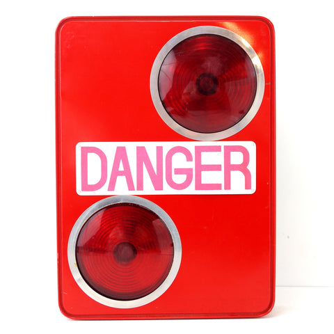 Vintage Danger Flashing Safety Light Sign in Red by Equality (c.1950s) - ThirdShift Vintage