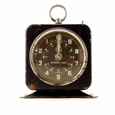 Vintage Industrial X-Ray Timer in Black Metal (c.1940s) N2 - ThirdShiftVintage.com