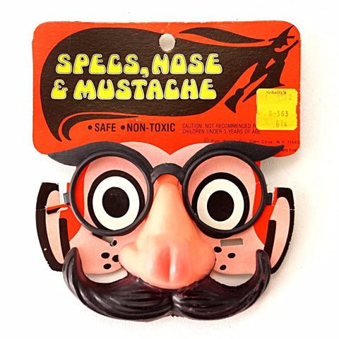Vintage Halloween Specs, Nose & Mustache on Original Package by Fun World (c.1970s)