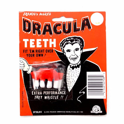 Vintage Halloween Whistling Dracula Teeth Collectible in Original Package (c.1970s) N2 - ThirdShiftVintage.com