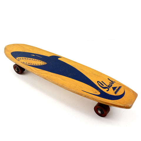 Vintage Nash Shark Skateboard in Wood with Dark Blue Shark (c.1950s) N1 - ThirdShiftVintage.com