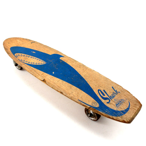 Vintage Nash Shark Skateboard in Wood with Light Blue Shark (c.1950s) N2 - ThirdShiftVintage.com