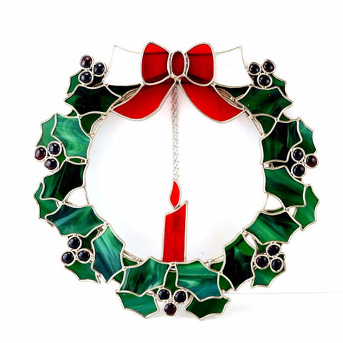 Vintage Stained Glass Holly Wreath with Candle (c.1980s) - ThirdShiftVintage.com