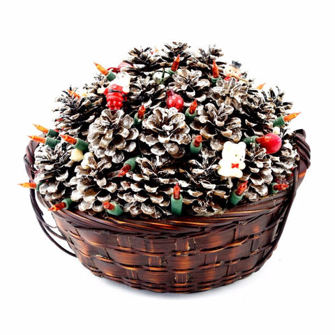 Vintage Holiday Basket Centerpiece with Pinecones, Lights, Ornaments (c.1980s) - thirdshift