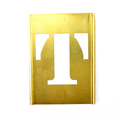 "Vintage Brass Stencil Letter ""T"" Reese's Interlocking Stencils, 2-1/2"" letter, 4-1/2"" tall (c.1950s) - thirdshift"