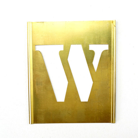 "Vintage Brass Stencil Letter ""W"" Reese's Interlocking Stencils, 2-1/2"" letter, 4-1/2"" tall (c.1950s) - thirdshift"