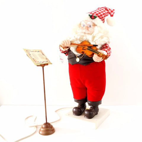 "Vintage 21"" Animated Musical Santa Playing Violin, Sounds of Christmas by Telco Motion-Ette (c.1992) - ThirdShiftVintage.com"
