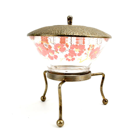 Vintage Glass Serving Bowl with Metal Tripod Stand and Lid (c.1950s) - ThirdShiftVintage.com