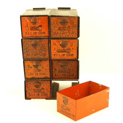 Vintage Dorman Parts Drawer Hardware Bin with 8 Drawers in Rustic Orange (c.1950s) - ThirdShiftVintage.com