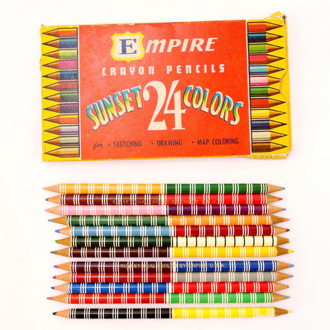 Vintage Dual Kolor Double-Sided Colored Pencils in Original Box of 24 by Empire (c.1950s) - ThirdShift Vintage
