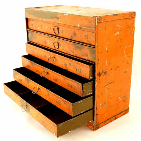 Vintage Industrial Metal Parts Cabinet, 7 Drawers in Bright Orange (c.1950s) - ThirdShiftVintage.com