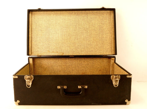 Vintage Black Suitcase with Metal Corners (c.1940s) - ThirdShift Vintage
