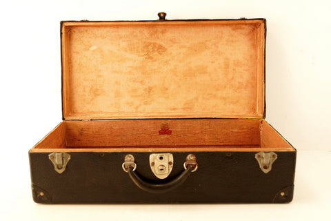 Vintage Black Suitcase with Black Metal Corners (c.1930s) - ThirdShiftVintage.com