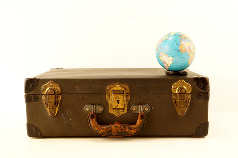 Vintage Black Suitcase with Black Metal Corners and Leather Handle (c.1930s) - thirdshift