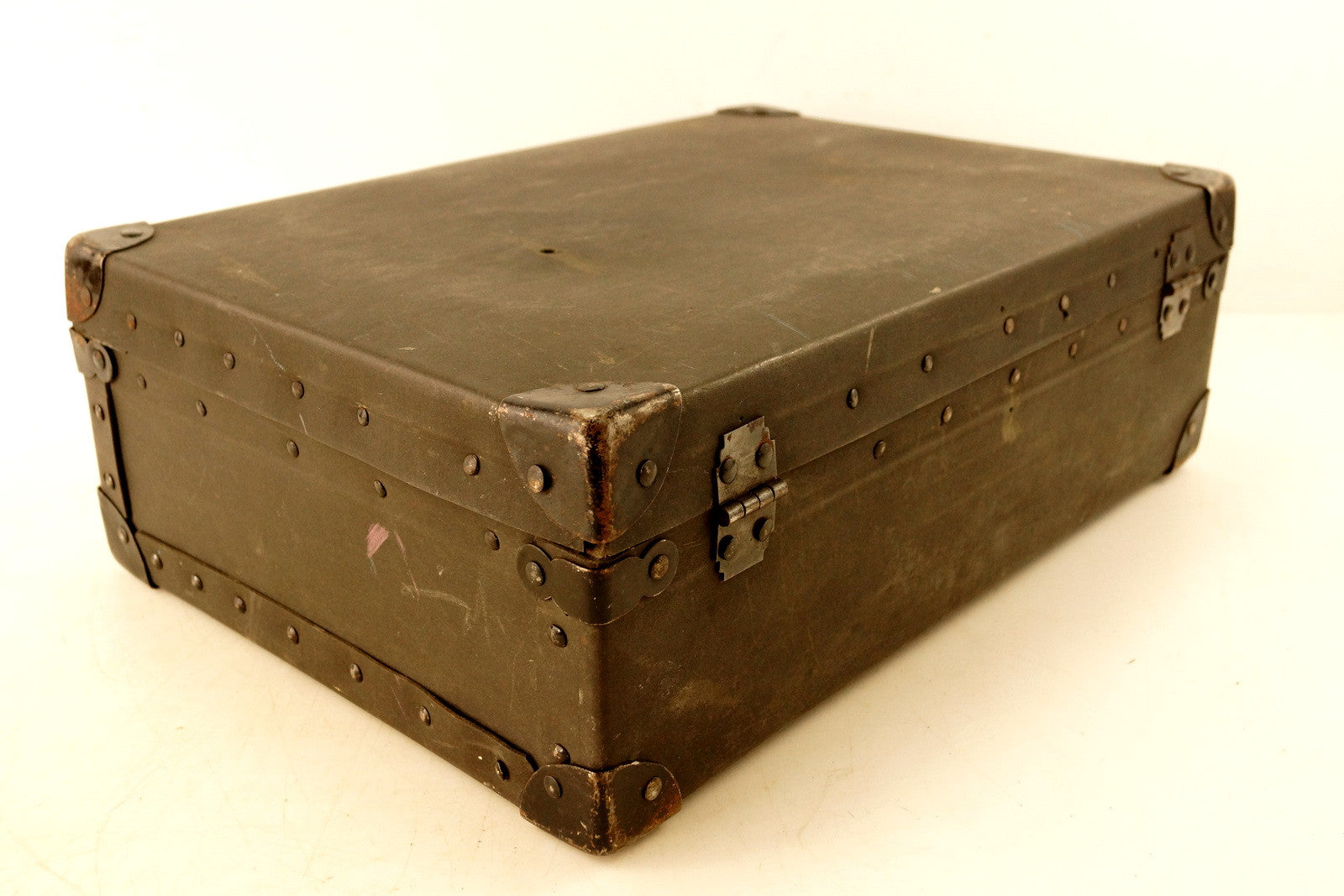 ... Vintage Black Suitcase With Black Metal Corners And Leather Handle  (c.1930s) ...