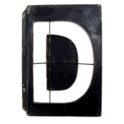 "Vintage Metal Letter ""D"" Moonglo Marquee Letter, 13"" tall (c.1900s) N3 - ThirdShiftVintage.com"
