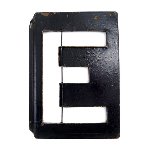 "Vintage Metal Letter ""E"" Moonglo Marquee Letter, 13"" tall (c.1900s) N2 - ThirdShiftVintage.com"