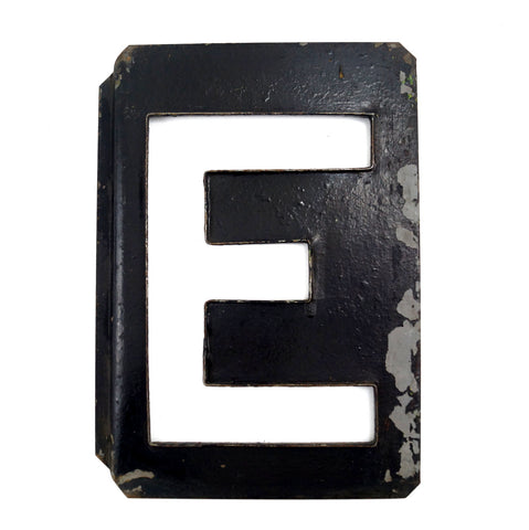 "Vintage Metal Letter ""E"" Moonglo Marquee Letter, 13"" tall (c.1900s) N3 - thirdshift"