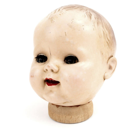 "Vintage Baby Doll Head with Sleep Eyes and Molded Hair, 6.5"" tall (c.1920s) N1 - ThirdShiftVintage.com"