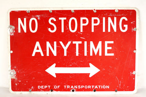 "Vintage ""No Stopping Anytime"" Metal Arrow Sign, Double-Sided (c.1970s) - ThirdShiftVintage.com"