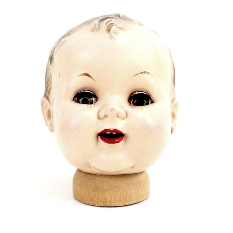 "Vintage Baby Doll Head with Sleep Eyes and Molded Hair, 6.5"" tall (c.1920s) N2 - ThirdShiftVintage.com"