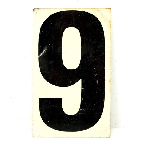 "Vintage Metal Number 0/9 or 0/6 Gas Station Sign, 8.5"" Double-Sided (c.1950s) - ThirdShift Vintage"