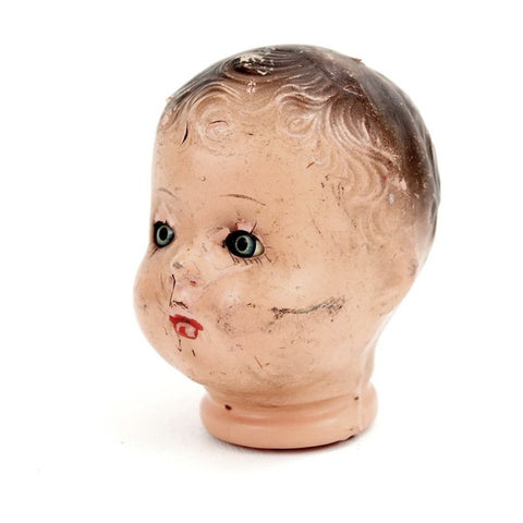 "Vintage Composition Baby Doll Head with Sleep Eyes and Molded Hair, 4.5"" tall (c.1920s) - ThirdShiftVintage.com"