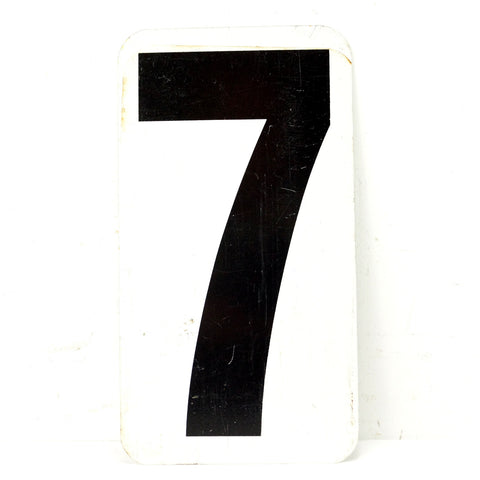 "Vintage Metal Number 7 / 8 Gas Station Sign, 10"" Double-Sided (c.1950s) - ThirdShiftVintage.com"