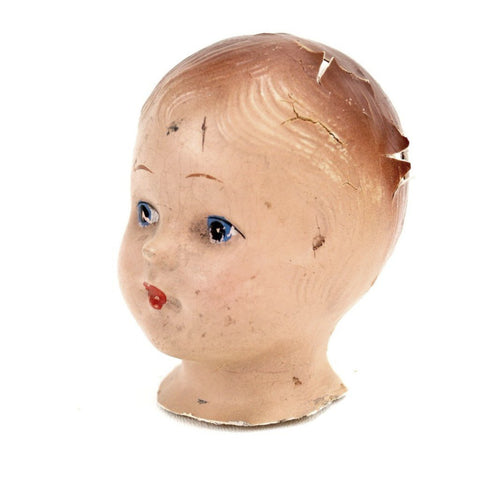 "Vintage Composition Baby Doll Head with Molded Hair, 3.5"" tall (c.1920s) - ThirdShiftVintage.com"