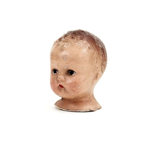 "Vintage Composition Baby Doll Head with Molded Hair, 3.25"" tall (c.1920s) - ThirdShiftVintage.com"