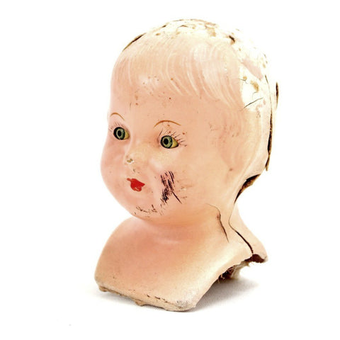"Vintage Composition Baby Doll Head with Sleep Eyes and Molded Hair, 6"" tall (c.1920s) - thirdshift"
