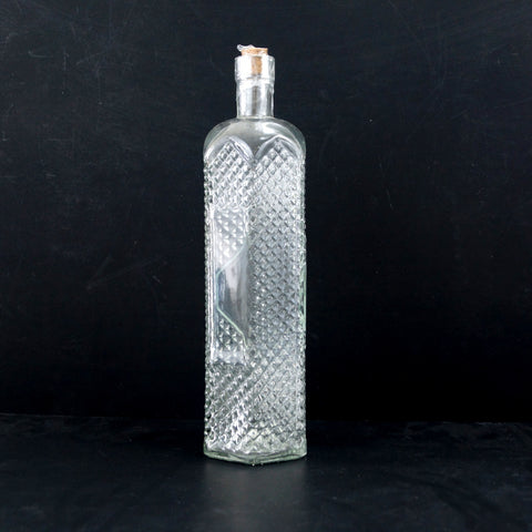 "Decorative Clear Glass ""Decanter Style"" Bottle with Cork, 12"" tall - ThirdShiftVintage.com"
