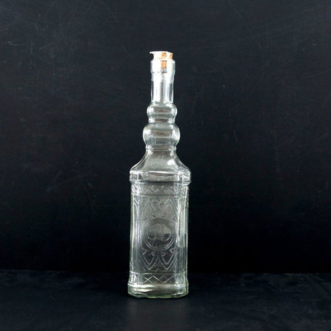 "Decorative Clear Glass ""Whiskey Style"" Bottle with Cork, 12"" tall - ThirdShiftVintage.com"