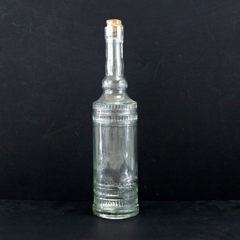 "Decorative Clear Glass ""Cylinder Style"" Bottle with Cork, 12"" tall - ThirdShiftVintage.com"
