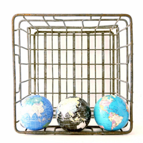 Vintage Metal Dairy Crate / Wire Milk Crate Bottle Basket (c.1960s) - ThirdShift Vintage