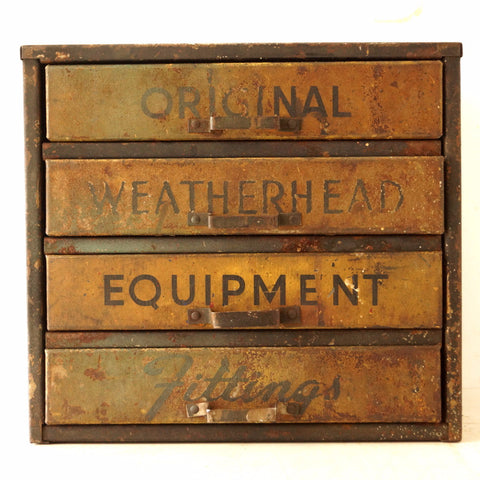 Vintage Weatherhead Original Equipment Fittings Hardware Cabinet, Rust (c.1940s) - ThirdShift Vintage