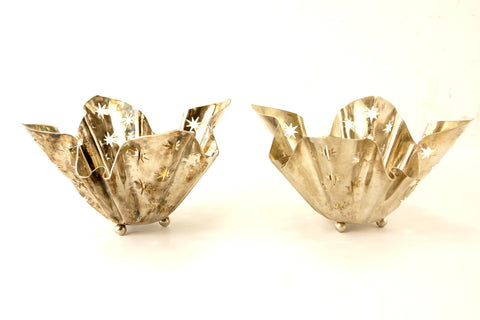 Vintage Silverplate Star Cutout Votive Holders by Godinger, Set of 2 (c.1970s) - thirdshift