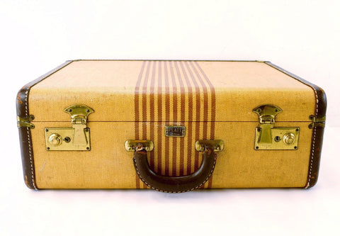 Vintage Striped Tweed Hard Sided / Hardboard Suitcase with Handle (c.1920s) - thirdshift