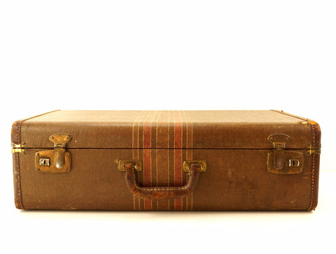 Vintage Striped Tweed Hard Sided Suitcase with Leather Handle (c.1920s) - thirdshift