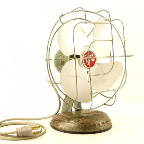 Vintage Industrial Super Lectric Open Cage Fan, Silver Aluminum Blades (c.1950s)