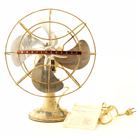 Vintage Industrial Westinghouse Open Cage Fan with Aluminum Blades (c.1950s) - thirdshift