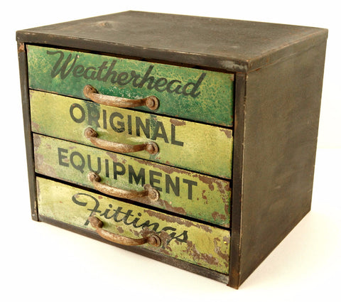 Vintage Weatherhead Original Equipment Fittings Hardware Cabinet, Green (c.1940s) - ThirdShiftVintage.com